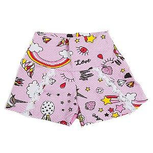 Shorts Menina Rosa Unicórnio Influência