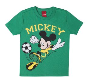 Camiseta Menino Mickey Futebol Verde Cativa