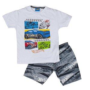 Conjunto Hot Wheels Camiseta e Bermuda Branco Fakini