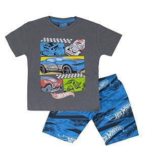 Conjunto Hot Wheels Camiseta Chumbo e  Bermuda Azul Fakini