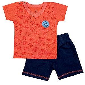Conjunto Baby Menino Camiseta Laranja e Bermuda Azul Marinho Ralakids