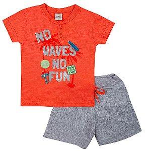 Conjunto Menino Camiseta Laranja e Bermuda Mescla Ralakids