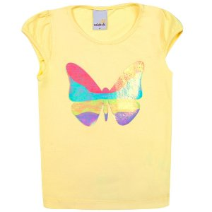 Blusa Amarela Infantil Menina Estampa Borboleta Ralakids