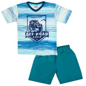 Conjunto Menino Camiseta Azul e Bermuda Verde Ralakids