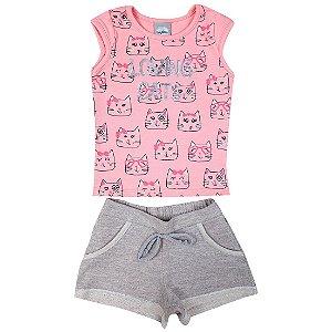 Conjunto Menina Blusa Rosa Estampa Loving Cats e Shorts Mescla Kely&Kety