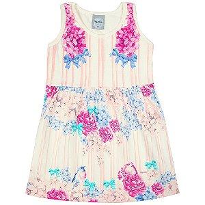 Vestido Menina Creme Estampas Flores Kely&Kety