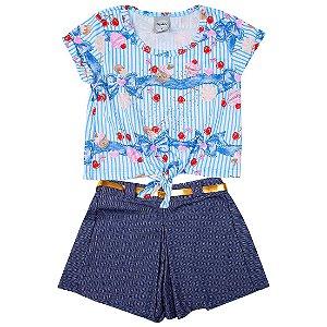 Conjunto Menina Blusa Azul e Shorts Azul Com Cinto Dourado Kely&Kety