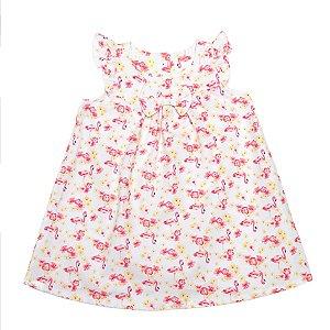 Vestido Menina Rosa Estampas Flores e Flamingos Ralakids