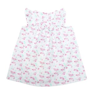 Vestido Menina Lilás Estampas Flores e Flamingos Ralakids