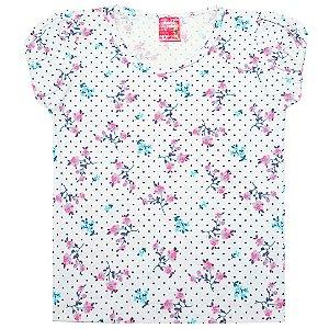 Blusa Menina Branco com Estampas Flores Ralakids