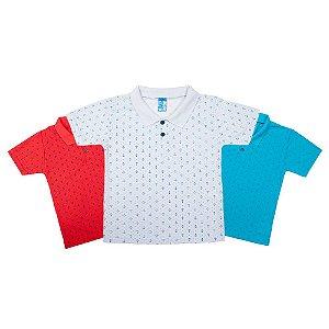Kit 3 Polos Menino Azul Branca Vermelha Ralakids