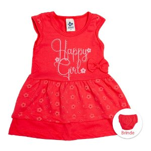 Vestido Infantil Vermelho Com Calcinha Vermelha Andritex