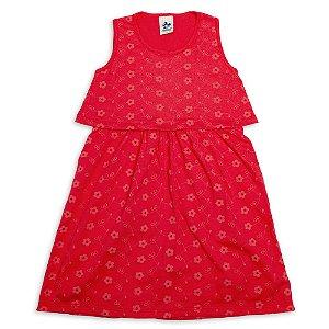 Vestido Infantil Menina Vermelho Com Malha Laise Andritex
