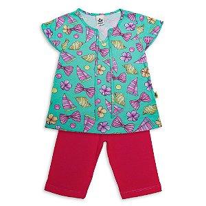 Conjunto Infantil Menina Blusa Verde e Bermuda Rosa Andritex