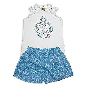 Conjunto Infantil Menina Regata Branca e Shorts Sarja Azul Andritex
