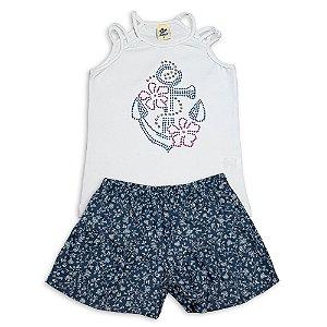 Conjunto Infantil Menina Regata Branca e Shorts Sarja Azul Marinho Strass Roxo e Azul Andritex