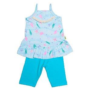 Conjunto Infantil Menina Blusa e Bermuda Azul Andritex