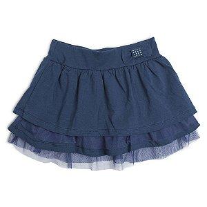 Saia Menina Azul Marinho Com Tule na Barra Mr Kids