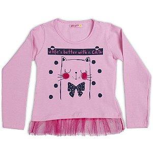 Blusa Manga Longa Menina Pink Com Tule Na Barra Mr Kids MR-7246E-R Tam-4-6-8-10