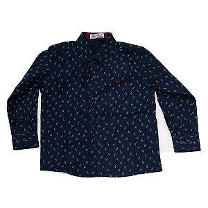 Camisa Manga Longa Menino Azul Marinho Estampa Folhas Mac Rose