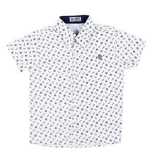 Camisa Manga Curta Menino Branca Estampa Âncoras Mac Rose
