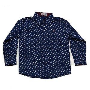 Camisa Manga Longa Menino Azul Estampa Âncoras Mac Rose