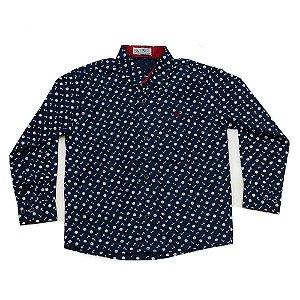 Camisa Manga Longa Menino Azul Marinho Estampa Âncoras Brancas Mac Rose