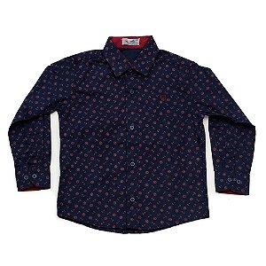 Camisa Manga Longa Menino Azul Marinho Estampas Âncoras Vermelhas Mac Rose