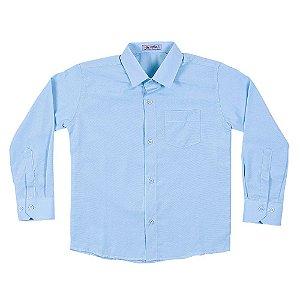 Camisa Manga Longa Menino Azul Tecido Misto Mac Rose CM-0007-AZU Tam 4 a 16