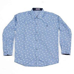 Camisa Manga Longa Menino Azul Estampa Bike Mac Rose
