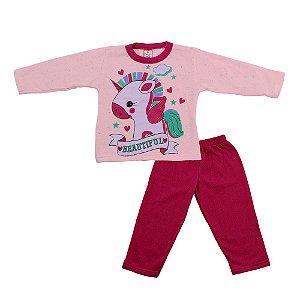 Conjunto Menina Blusa Rosa e Calça Rosa Escuro Cleomara