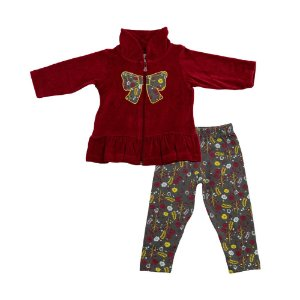 Conjunto Baby Menina Casaco Plush Bordo e Legging Marrom Ralakids