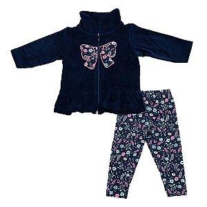 Conjunto Baby Menina Casaco Plush Azul Marinho e Legging Ralakids