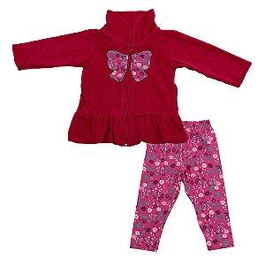 Conjunto Baby Menina Casaco Plush Rosa e Legging Estampada Ralakids