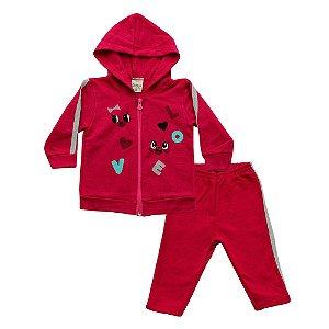 Conjunto Menina Casaco e Calça Rosa Escuro Didiene