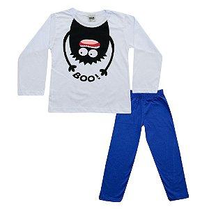 Pijama Menino Camiseta Branca e Calça Azul Marinho Didiene
