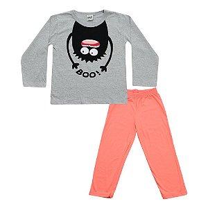 Pijama Menino Camiseta Mescla e Calça Salmão Didiene