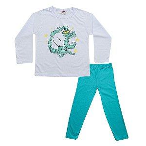 Pijama Unicórnio Infantil Blusa Branca e Calça Verde Didiene
