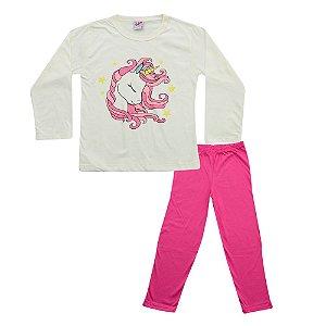 Pijama Unicórnio Infantil Blusa Creme e Calça Rosa Didiene