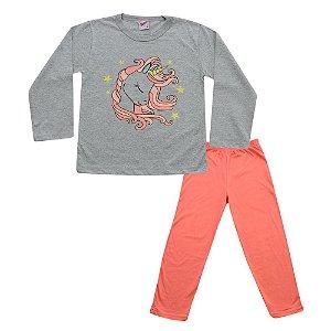 Pijama Unicórnio Infantil Blusa Mescla Calça Salmão Didiene