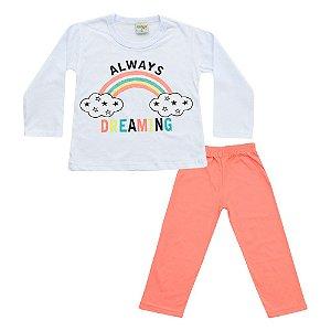 Pijama Baby Menina Blusa Always Branca e Calça Salmão Didiene