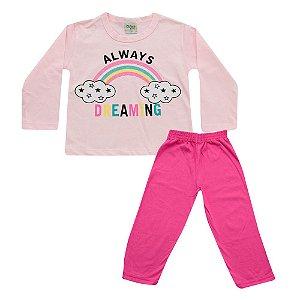 Pijama Baby Menina Blusa Always Rosa e Calça Rosa Escuro Didiene