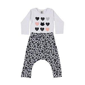 Conjunto Bebê Feminino Estampa de Corações Andritex