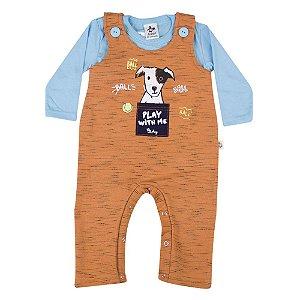 Conjunto Baby Menino Camiseta Azul e Jardineira Andritex