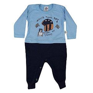 Conjunto Baby Menino Macaco Camiseta Azul e Calça Andritex