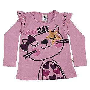 Blusa Infantil Star Cat Rosa Andritex