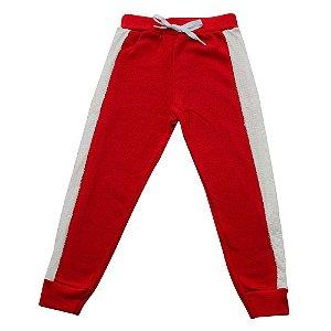 Calça Menina Jogger Vermelha Lateral em Paetê Ralakids