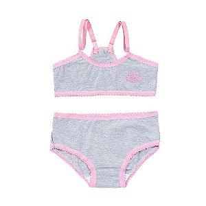 Conjunto Calcinha e Sutiã Nadador Mescla e Pink Pequena Flor PF-310104-MP Tam 4 a 8