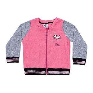 Casaco Kids Menina Rosa e Mescla LX Textil