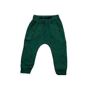 Calça Baby Menino Verde Estampa Luvas De Boxe Ralakids